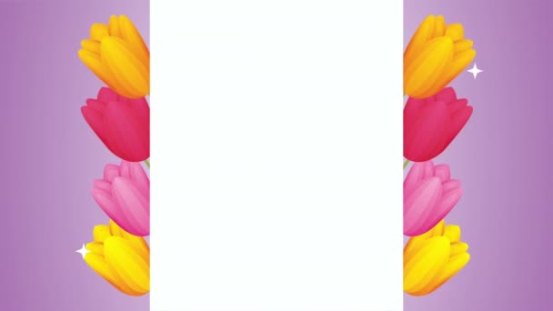 beautifull roses flowers square frame animation