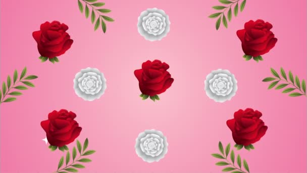 beautifull roses flowers garden pattern animation