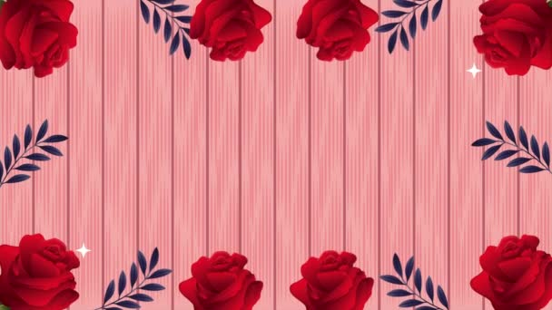 beautifull red roses flowers garden frame animation