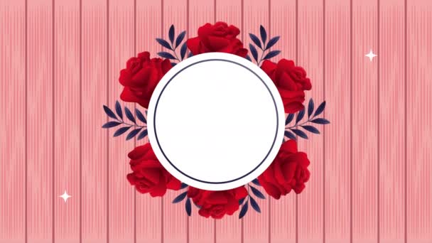 beautifull red roses flowers circular frame animation