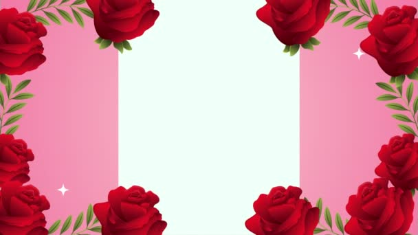 beautifull red roses flowers garden frame animation