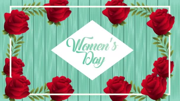 happy womens day card with red roses flowers diamond frame