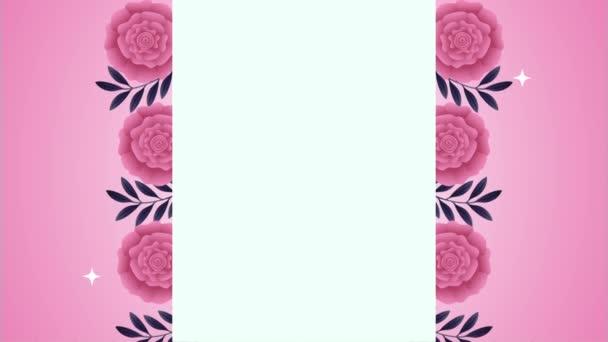 beautifull pink roses flowers garden frame animation