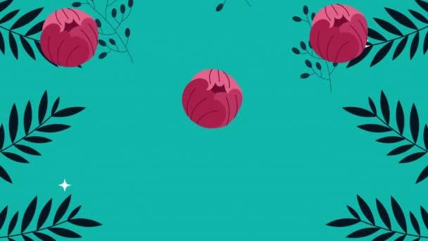 beautifull roses flowers garden pattern animation