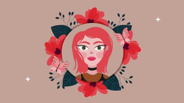 beautifull woman and flowers garden circular frame