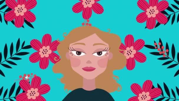 beautifull woman and flowers garden pattern animation