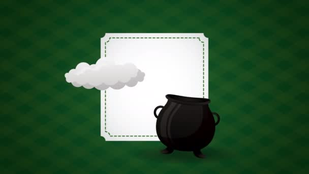 st patricks day animated card with rainbow and cauldron