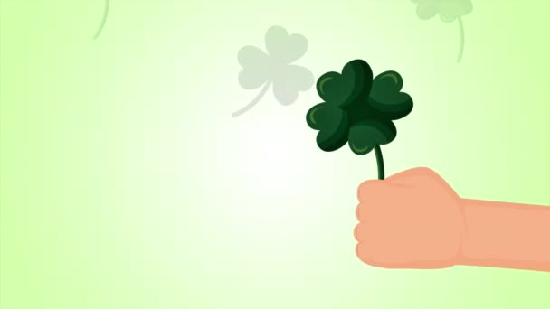 st patricks day animated card with clovers leafs