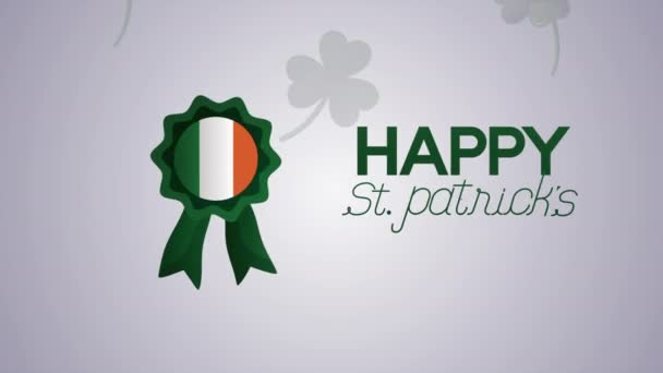 st patricks day animated card with lettering and ireland medal