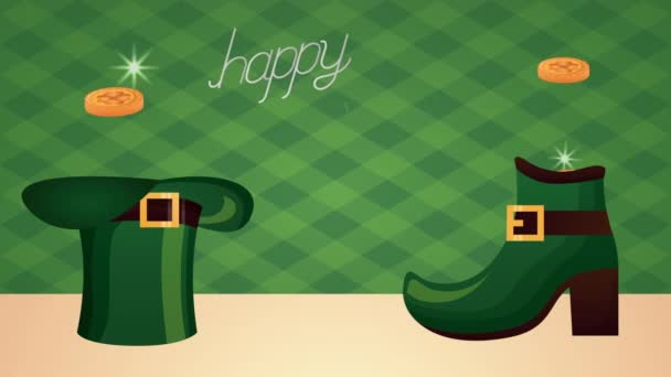 st patricks day animated card with elf boot and hat