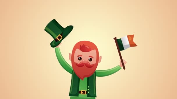 st patricks day animated card with elf and irerland flag