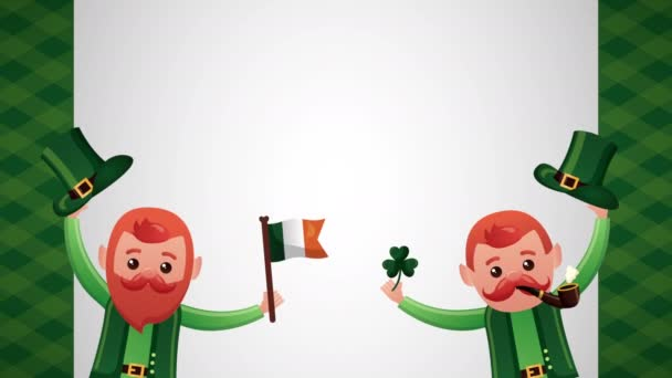 st patricks day animated card with elfs and clovers