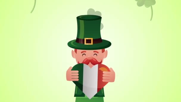 st patricks day animated card with elf character