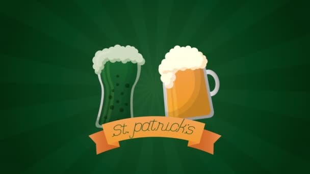 st patricks day animated card with beers