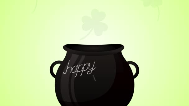 st patricks day animated card with elfs and treasure cauldron