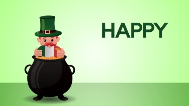 st patricks day animated card with elf and cauldron