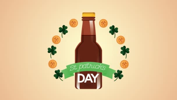 st patricks day animated card with beer bottle