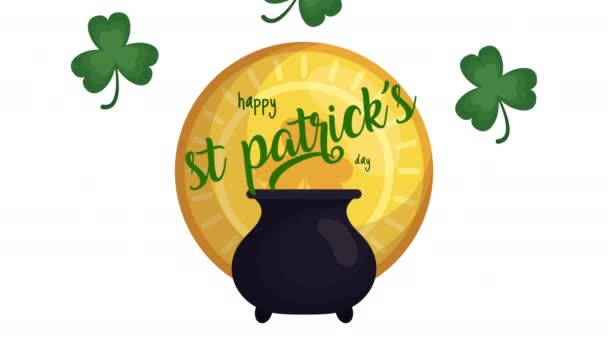 st patricks day animated card with treasure cauldron and clovers