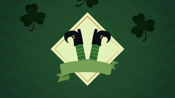st patricks day animated card with elf legs and clovers