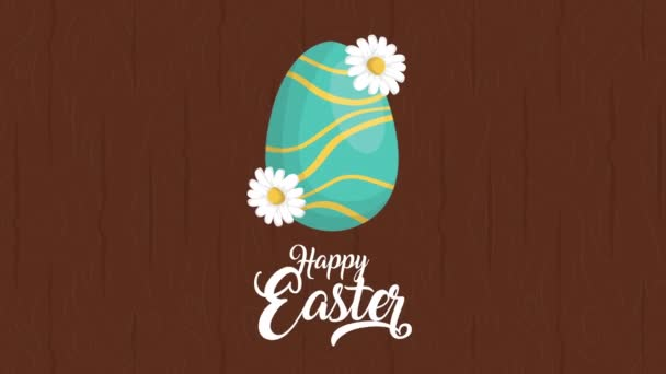 happy easter animated card with lettering and egg painted