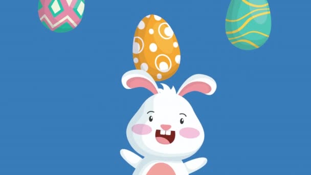 happy easter animated card with cute rabbit and eggs painted