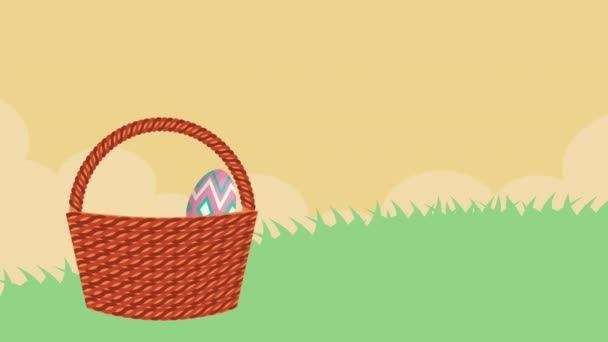 happy easter animated card with rabbit and eggs painted in basket