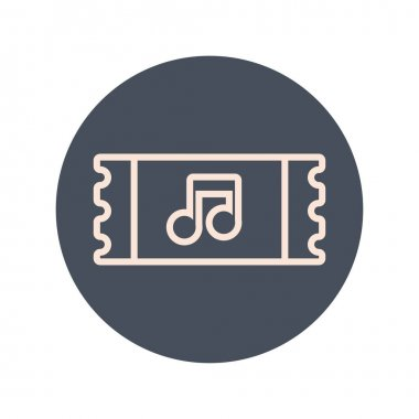 ticket with music note block and line icon