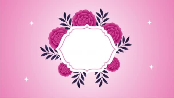gyönyörű rózsa virágok kert elegáns keret animáció