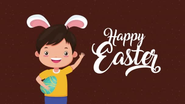 boldog húsvét animációs kártya a kisfiú segítségével nyúl fülek