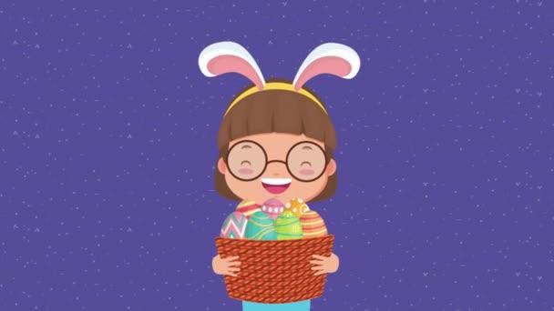 frohe Ostern animierte Karte mit kleinem Mädchen mit Hasenohren