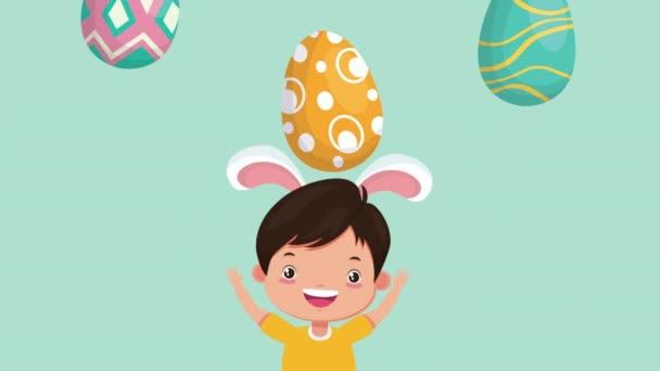 frohe Ostern animierte Karte mit kleinem Jungen mit Hasenohren