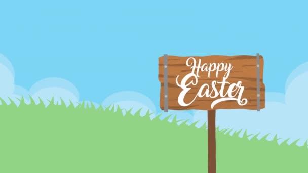 boldog húsvét animációs kártya a kislány segítségével nyúl fülek
