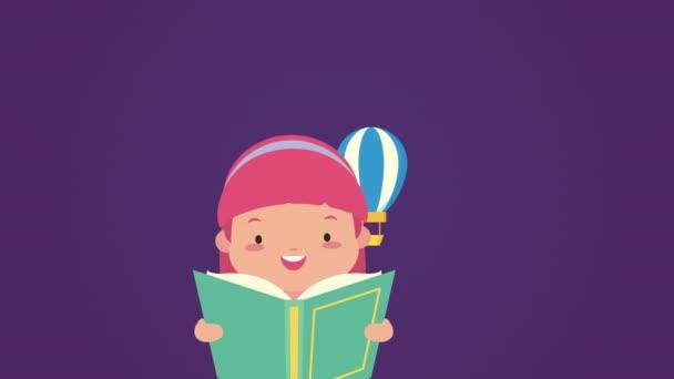 světová kniha den oslavy s holčičkou čtení a balón vzduch horký