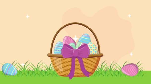 happy easter animated card with eggs in basket on the camp