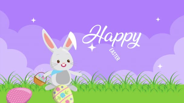 happy easter animated card with eggs painted in the field