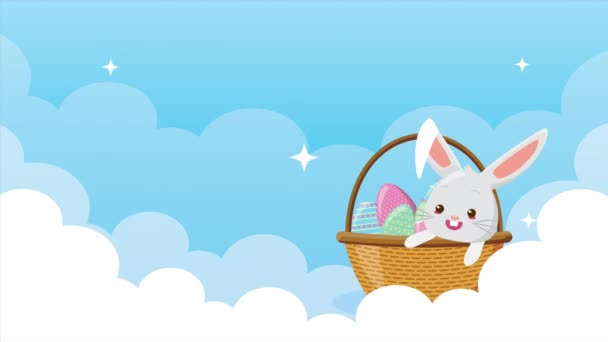 happy easter animated card with rabbits couple in the sky