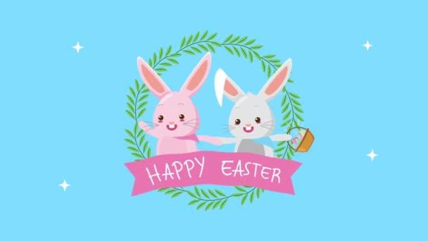 frohe Ostern animierte Karte mit Hasenpaar und Blumenrahmen