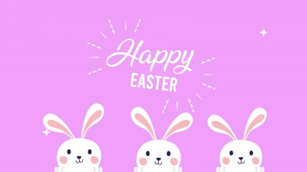 happy easter animated card with rabbits and lettering
