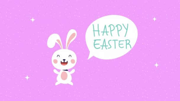 boldog húsvéti animációs kártya nyúl és beszéd buborék