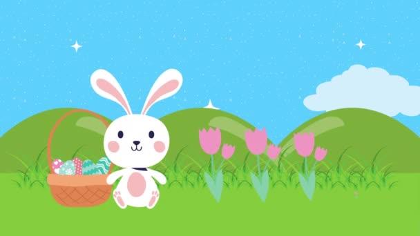 Veselá velikonoční animovaná karta s králíčkem a vejci namalovanými v táboře
