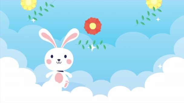 Veselé velikonoční animované karty s králíkem v oblacích