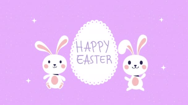 happy easter animated card with rabbits and egg painted