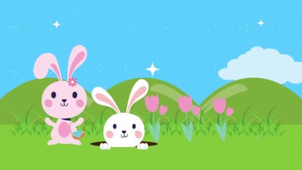 Veselá velikonoční animovaná karta s králíky v táboře