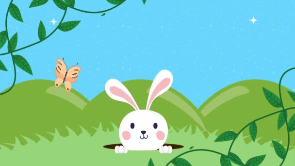 happy easter animated card with rabbit in the camp