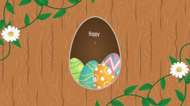 frohe Ostern animierte Karte mit bemalten Eiern und Blumen