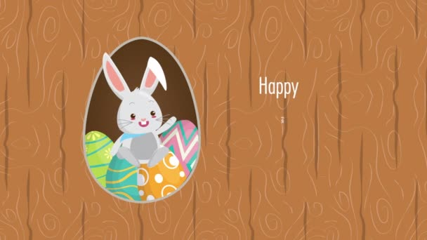 happy easter animated card with rabbit and eggs painted
