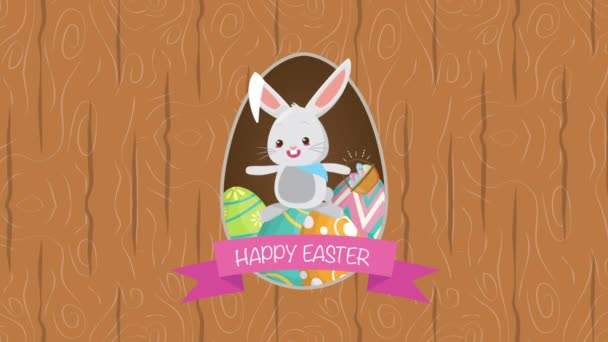 happy easter animated card with rabbit and flowers decoration