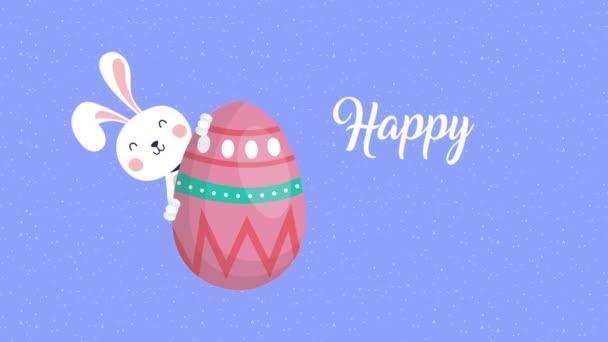 Veselá velikonoční animovaná karta s králičí a vaječnou malbou