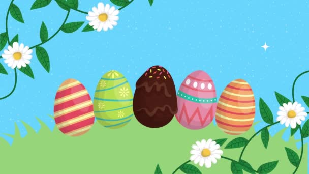 happy easter animated card with eggs painted in the camp