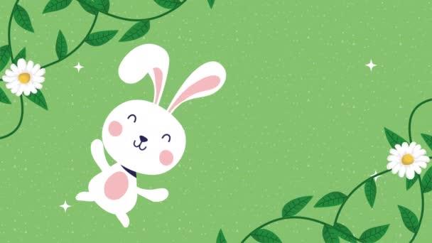 Veselé Velikonoce animované karty s králík a květiny dekorace